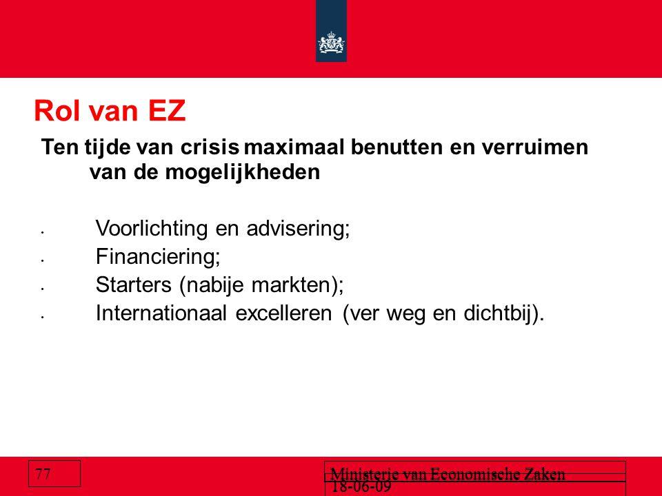 18-06-09 Ministerie van Economische Zaken Rol van EZ Ten tijde van crisis maximaal benutten en verruimen van de mogelijkheden Voorlichting en adviseri
