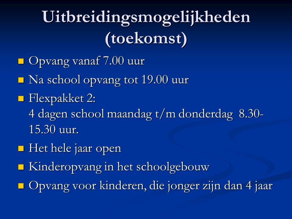 Uitbreidingsmogelijkheden (toekomst) Opvang vanaf 7.00 uur Opvang vanaf 7.00 uur Na school opvang tot 19.00 uur Na school opvang tot 19.00 uur Flexpak