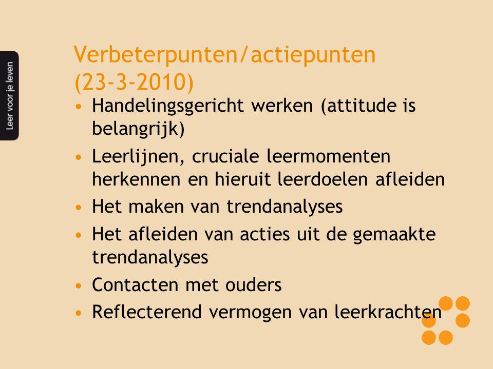 Verbeterpunten/actiepunten (23-3-2010) Handelingsgericht werken (attitude is belangrijk) Leerlijnen, cruciale leermomenten herkennen en hieruit leerdo