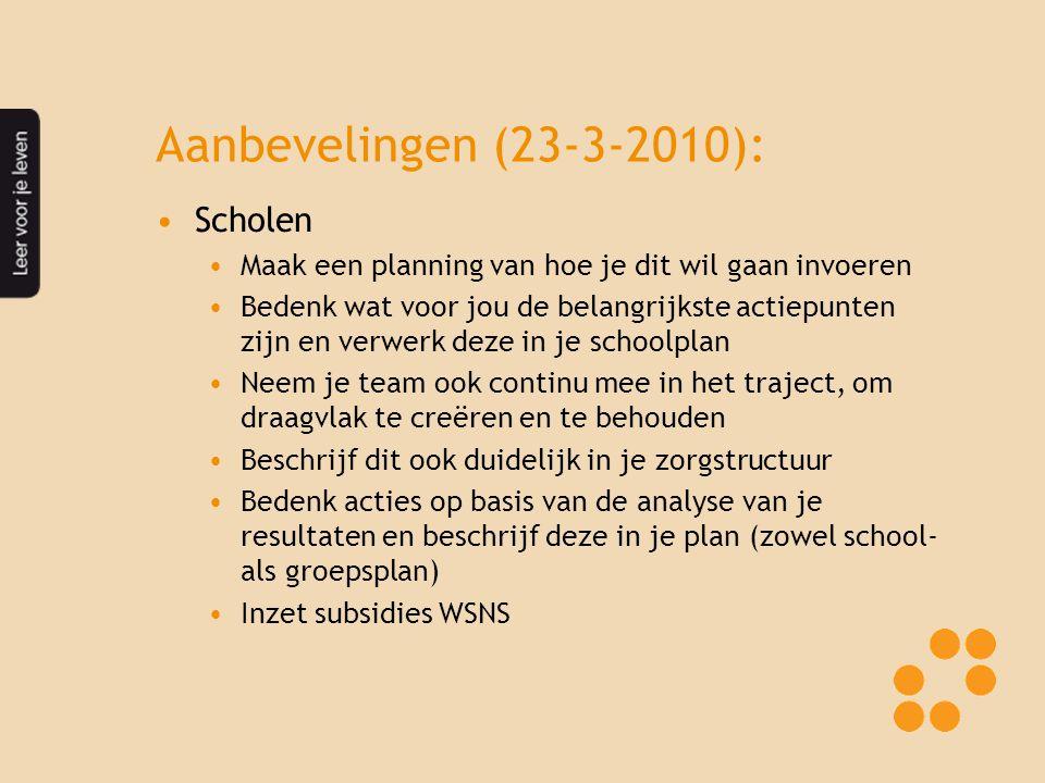 Aanbevelingen (23-3-2010): Scholen Maak een planning van hoe je dit wil gaan invoeren Bedenk wat voor jou de belangrijkste actiepunten zijn en verwerk