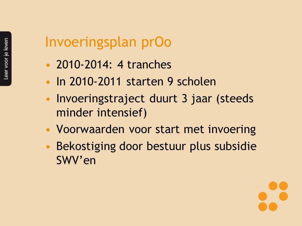 Invoeringsplan prOo 2010-2014: 4 tranches In 2010-2011 starten 9 scholen Invoeringstraject duurt 3 jaar (steeds minder intensief) Voorwaarden voor sta