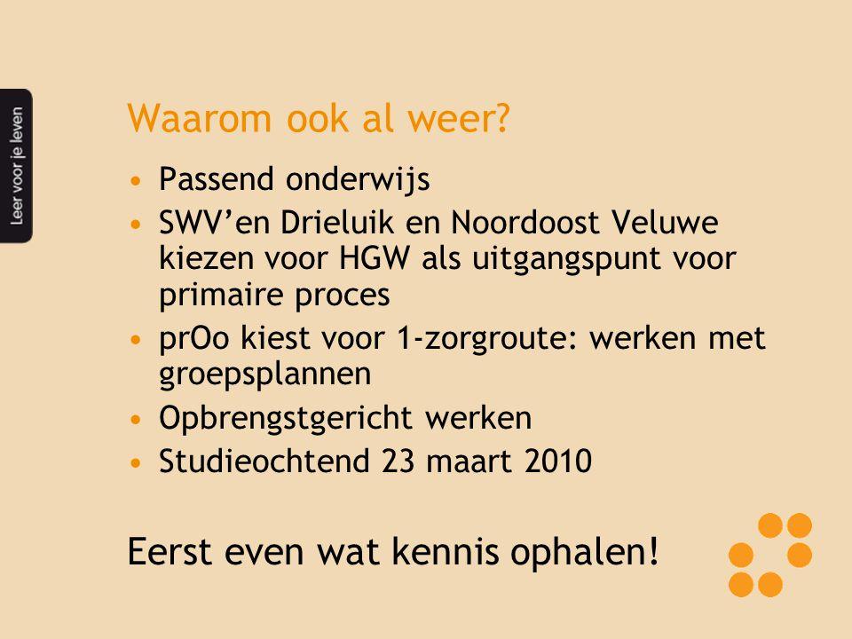 Waarom ook al weer? Passend onderwijs SWV'en Drieluik en Noordoost Veluwe kiezen voor HGW als uitgangspunt voor primaire proces prOo kiest voor 1-zorg