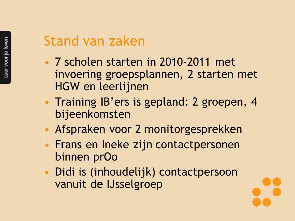 Stand van zaken 7 scholen starten in 2010-2011 met invoering groepsplannen, 2 starten met HGW en leerlijnen Training IB'ers is gepland: 2 groepen, 4 b