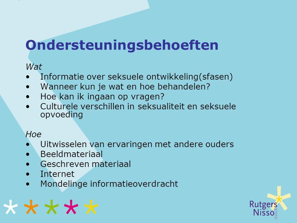 Ondersteuningsbehoeften Wat Informatie over seksuele ontwikkeling(sfasen) Wanneer kun je wat en hoe behandelen? Hoe kan ik ingaan op vragen? Culturele