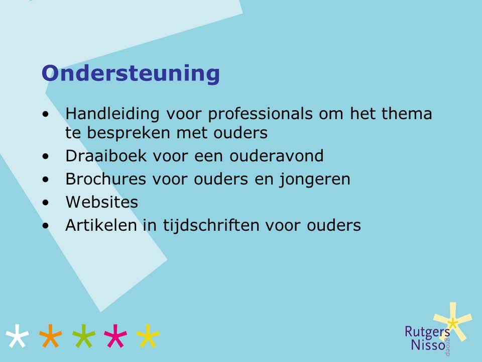 Ondersteuning Handleiding voor professionals om het thema te bespreken met ouders Draaiboek voor een ouderavond Brochures voor ouders en jongeren Webs