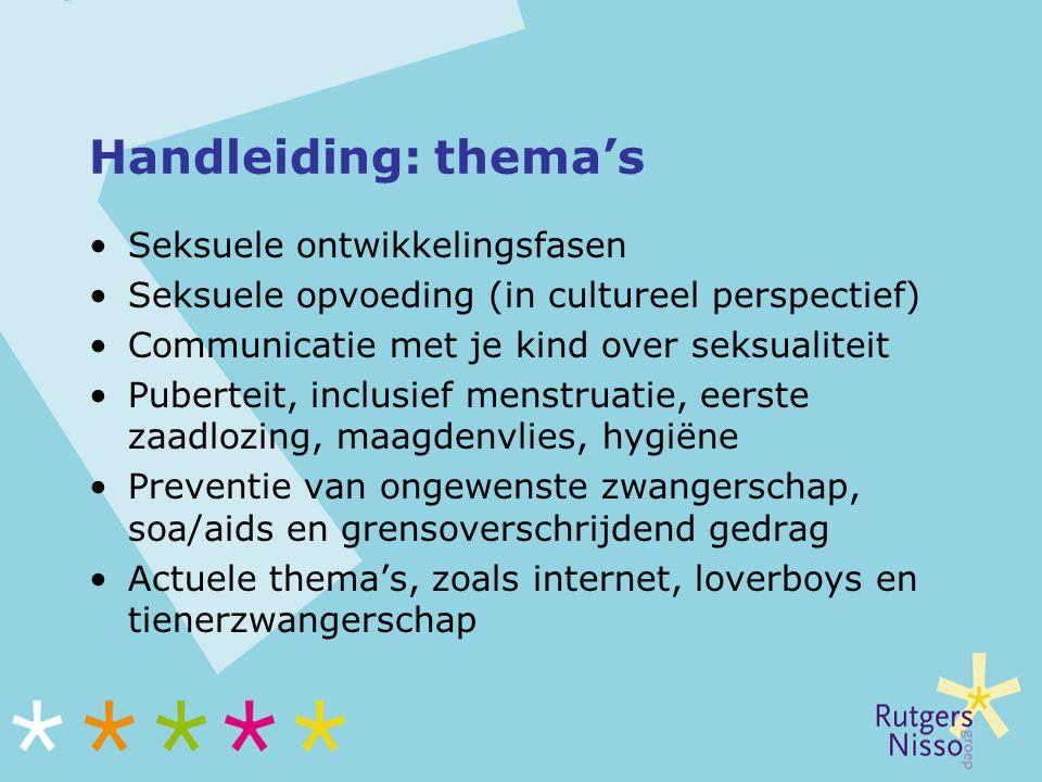 Handleiding: thema's Seksuele ontwikkelingsfasen Seksuele opvoeding (in cultureel perspectief) Communicatie met je kind over seksualiteit Puberteit, i