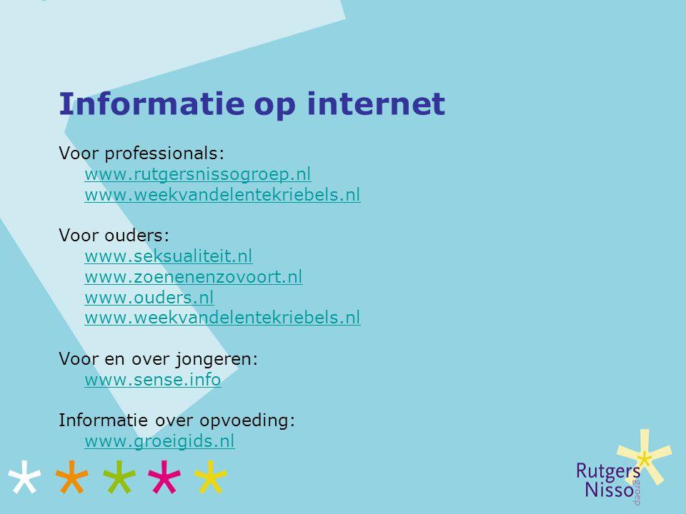 Informatie op internet Voor professionals: www.rutgersnissogroep.nl www.weekvandelentekriebels.nl Voor ouders: www.seksualiteit.nl www.zoenenenzovoort