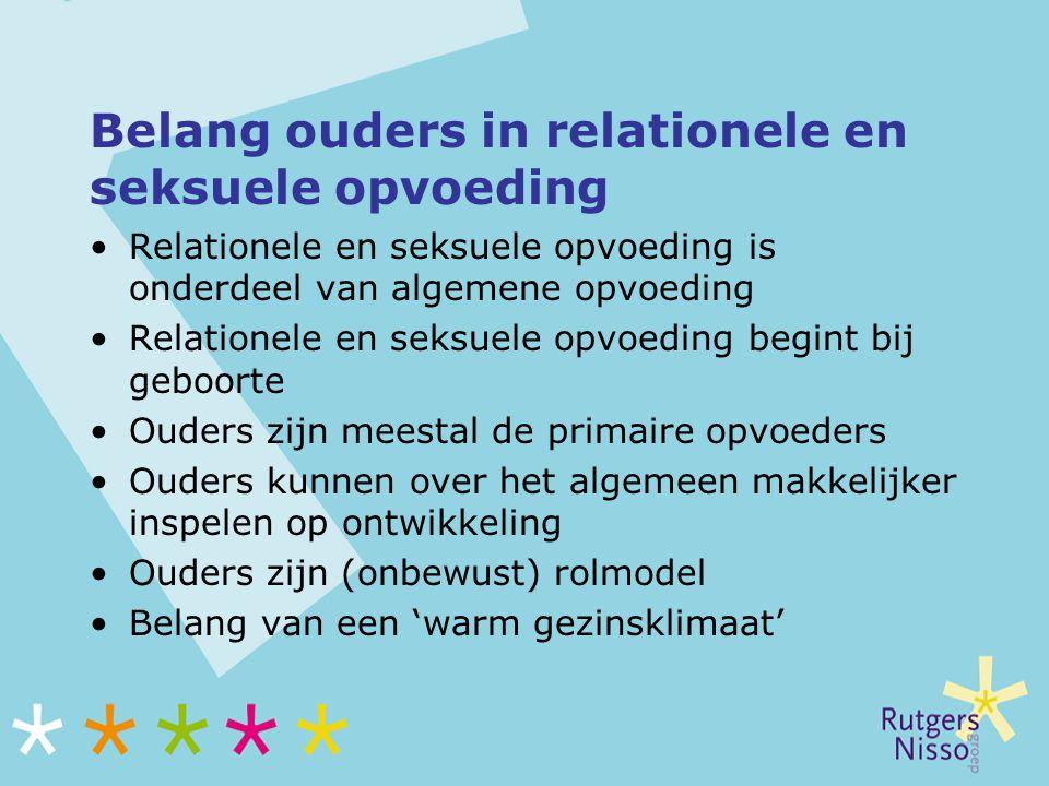 Belang ouders in relationele en seksuele opvoeding Relationele en seksuele opvoeding is onderdeel van algemene opvoeding Relationele en seksuele opvoe