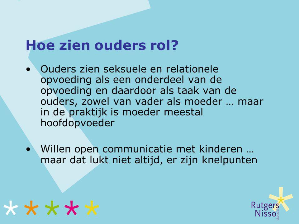Hoe zien ouders rol? Ouders zien seksuele en relationele opvoeding als een onderdeel van de opvoeding en daardoor als taak van de ouders, zowel van va