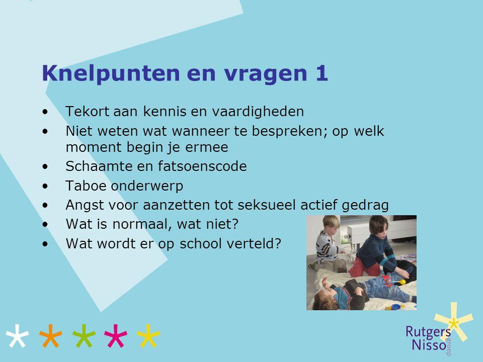 Informatie op internet Voor professionals: www.rutgersnissogroep.nl www.weekvandelentekriebels.nl Voor ouders: www.seksualiteit.nl www.zoenenenzovoort.nl www.ouders.nl www.weekvandelentekriebels.nl Voor en over jongeren: www.sense.info Informatie over opvoeding: www.groeigids.nl