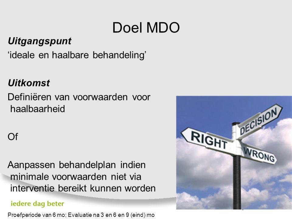 Doel MDO Uitgangspunt 'ideale en haalbare behandeling' Uitkomst Definiëren van voorwaarden voor haalbaarheid Of Aanpassen behandelplan indien minimale