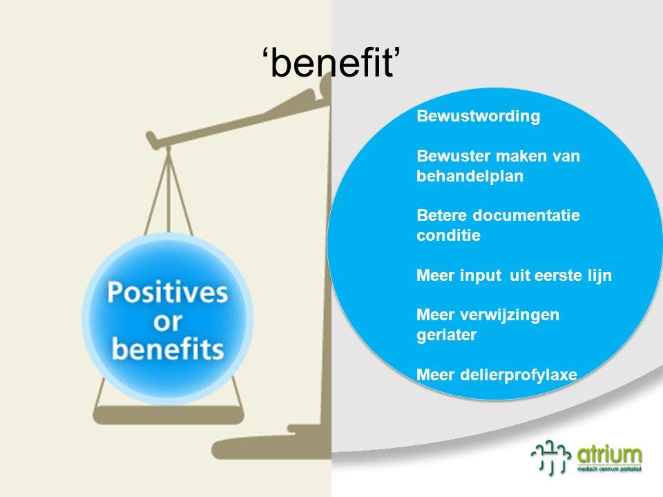 'benefit' Bewustwording Bewuster maken van behandelplan Betere documentatie conditie Meer input uit eerste lijn Meer verwijzingen geriater Meer delier