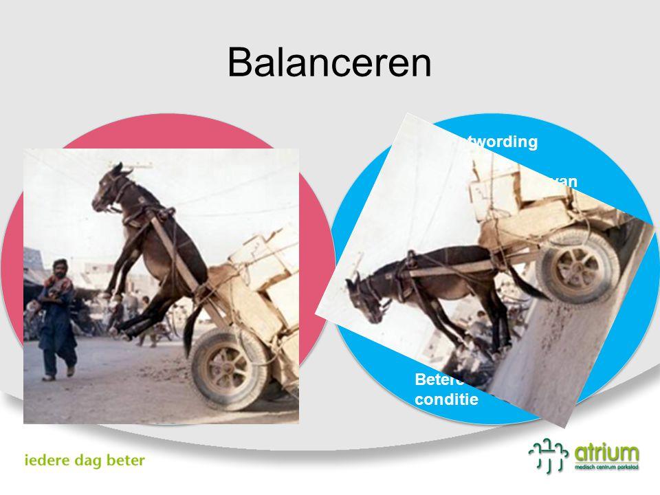 Balanceren Bewustwording Bewuster maken van behandelplan Meer verwijzingen geriater Meer input eerste lijn Meer delierprofylaxe Betere documentatie co