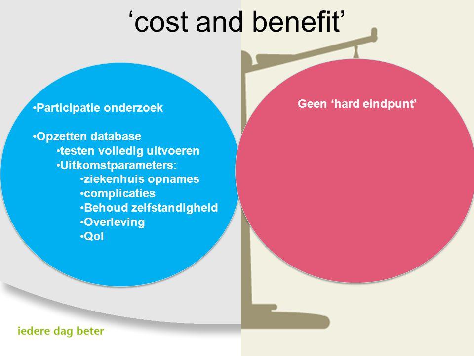 'cost and benefit' Participatie onderzoek Opzetten database testen volledig uitvoeren Uitkomstparameters: ziekenhuis opnames complicaties Behoud zelfs