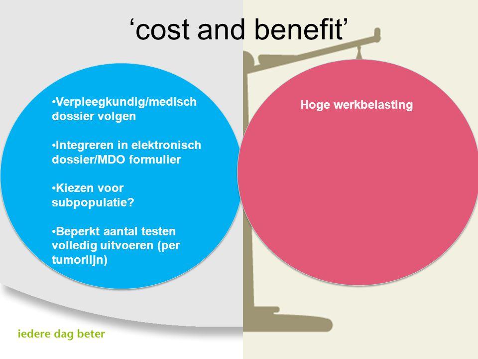 'cost and benefit' Verpleegkundig/medisch dossier volgen Integreren in elektronisch dossier/MDO formulier Kiezen voor subpopulatie? Beperkt aantal tes