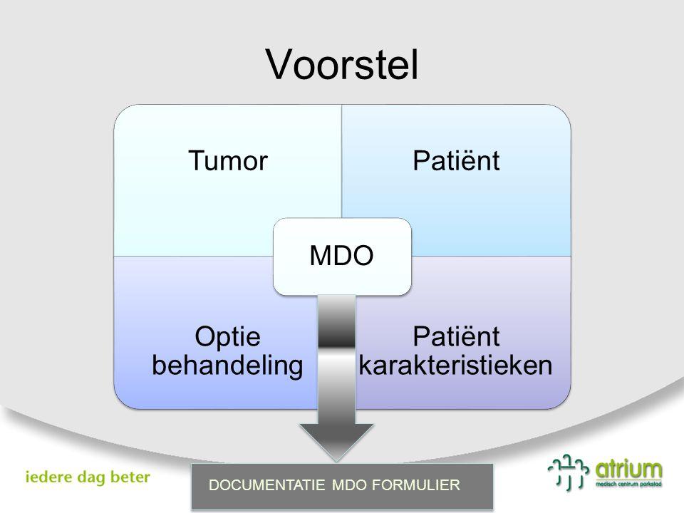 TumorPatiënt Optie behandeling Patiënt karakteristieken MDO DOCUMENTATIE MDO FORMULIER