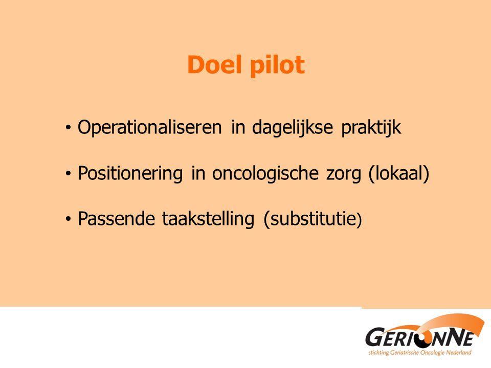 Doel pilot Operationaliseren in dagelijkse praktijk Positionering in oncologische zorg (lokaal) Passende taakstelling (substitutie )