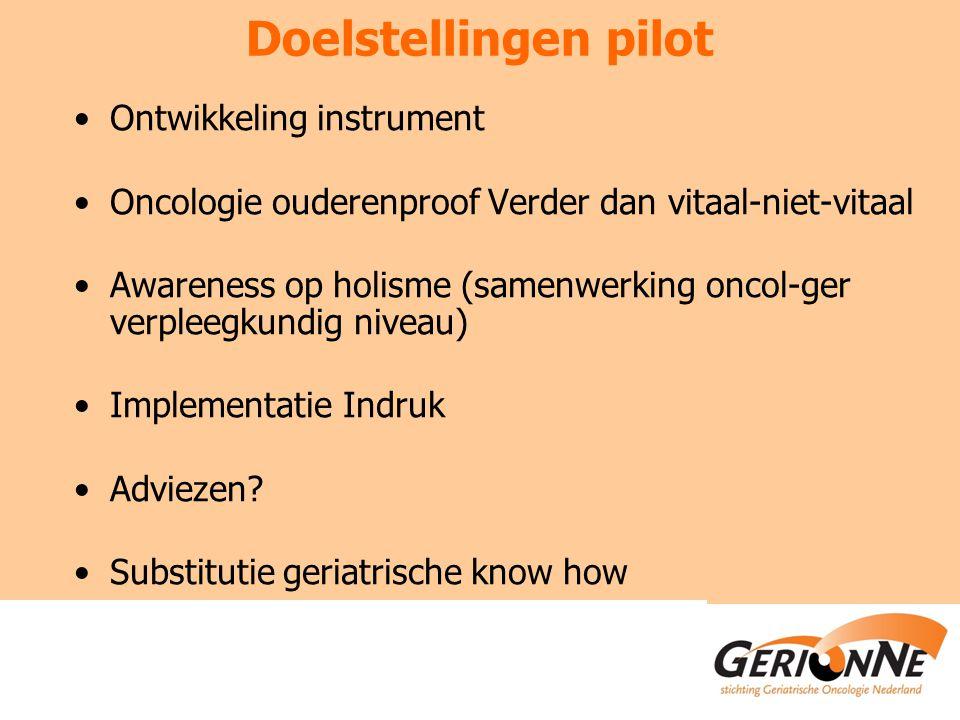 Doelstellingen pilot Ontwikkeling instrument Oncologie ouderenproof Verder dan vitaal-niet-vitaal Awareness op holisme (samenwerking oncol-ger verpleegkundig niveau) Implementatie Indruk Adviezen.