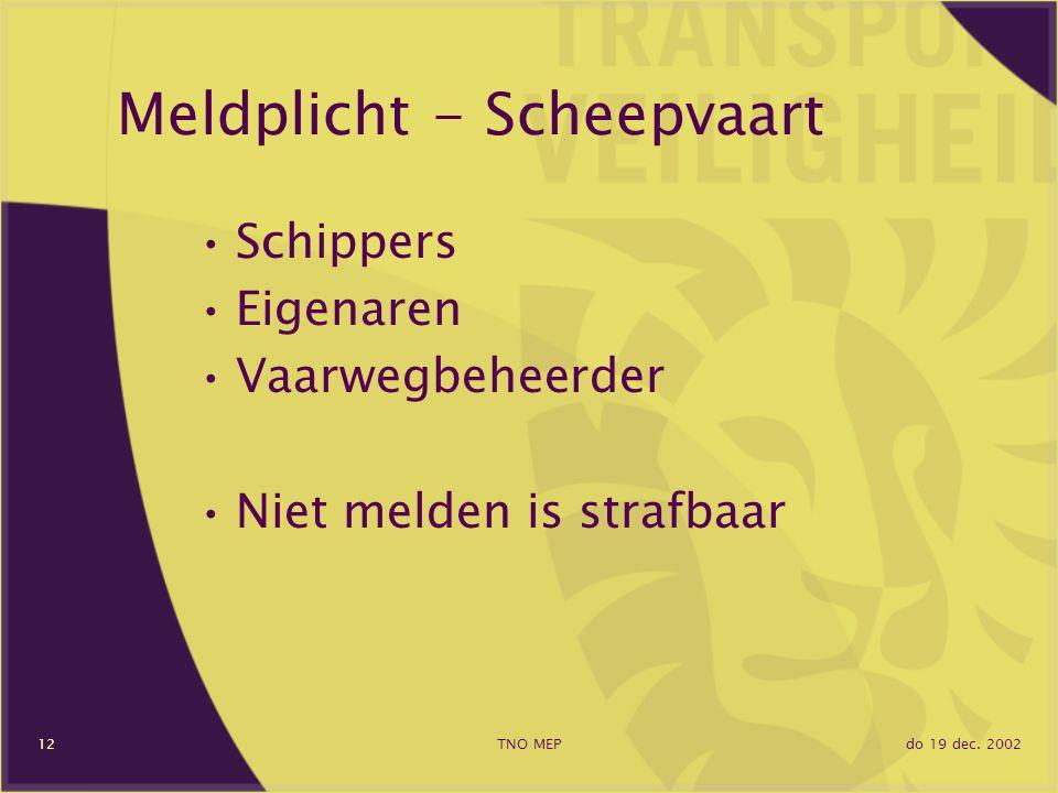 do 19 dec. 2002TNO MEP12 Meldplicht - Scheepvaart Schippers Eigenaren Vaarwegbeheerder Niet melden is strafbaar