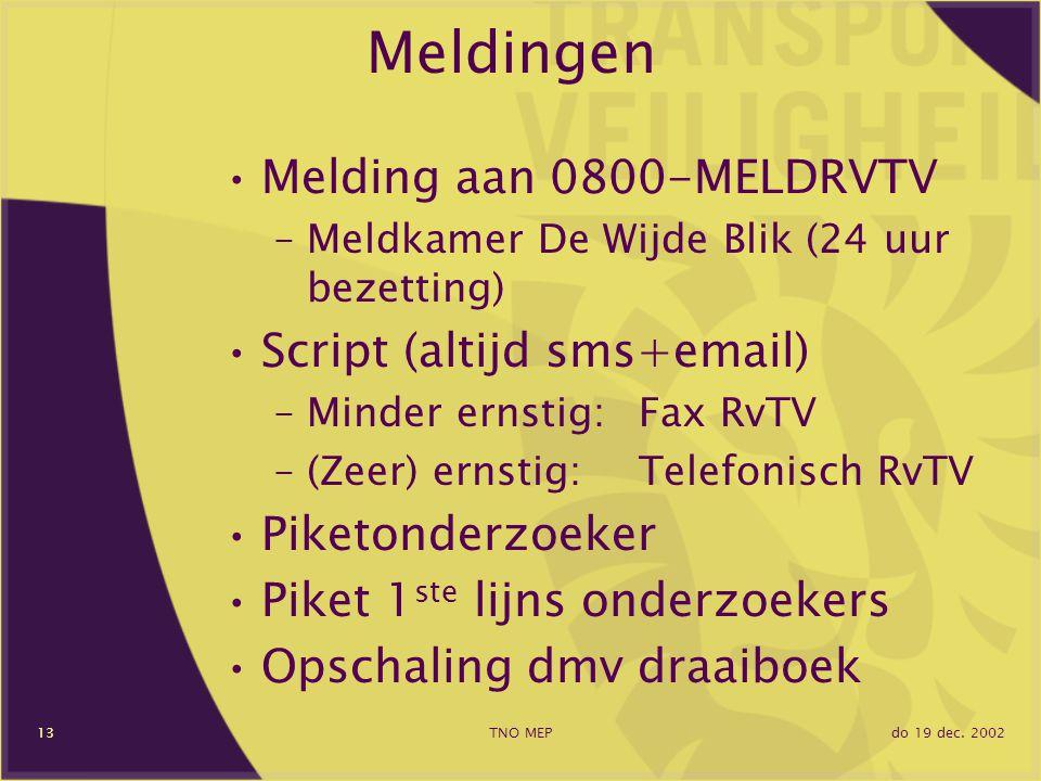 do 19 dec. 2002TNO MEP13 Meldingen Melding aan 0800-MELDRVTV –Meldkamer De Wijde Blik (24 uur bezetting) Script (altijd sms+email) –Minder ernstig:Fax
