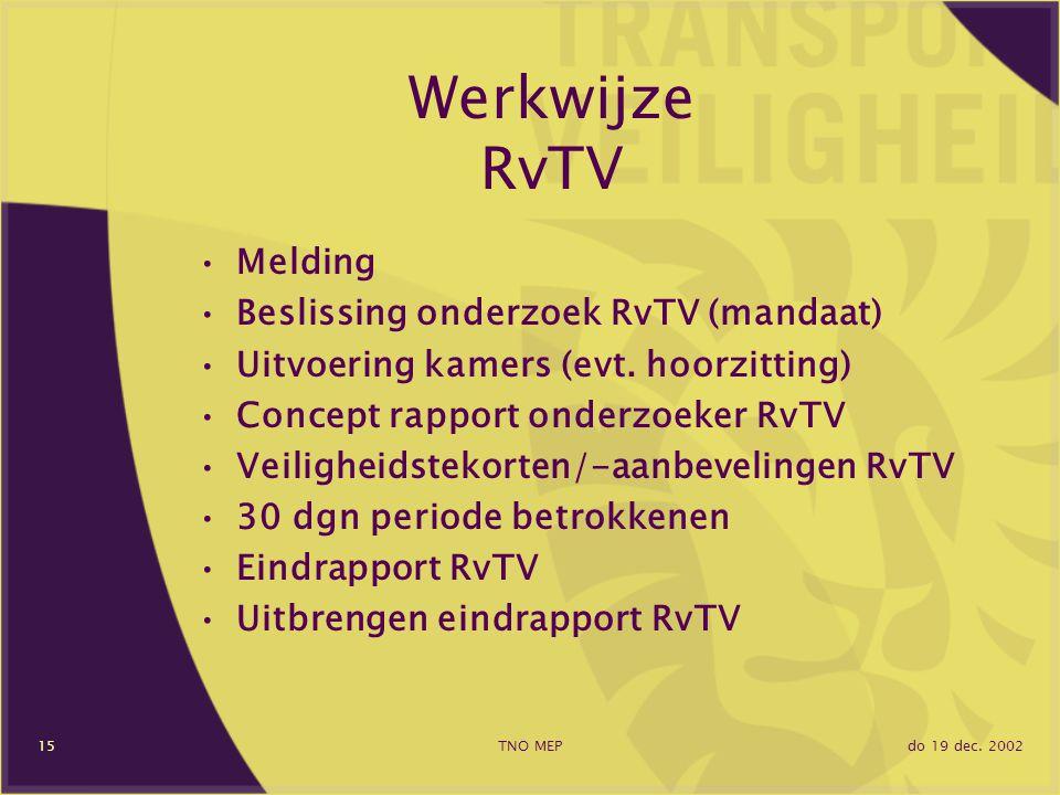 do 19 dec. 2002TNO MEP15 Werkwijze RvTV Melding Beslissing onderzoek RvTV (mandaat) Uitvoering kamers (evt. hoorzitting) Concept rapport onderzoeker R