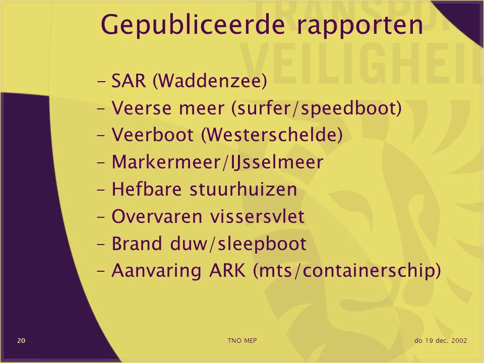 do 19 dec. 2002TNO MEP20 Gepubliceerde rapporten -SAR (Waddenzee) –Veerse meer (surfer/speedboot) –Veerboot (Westerschelde) –Markermeer/IJsselmeer –He