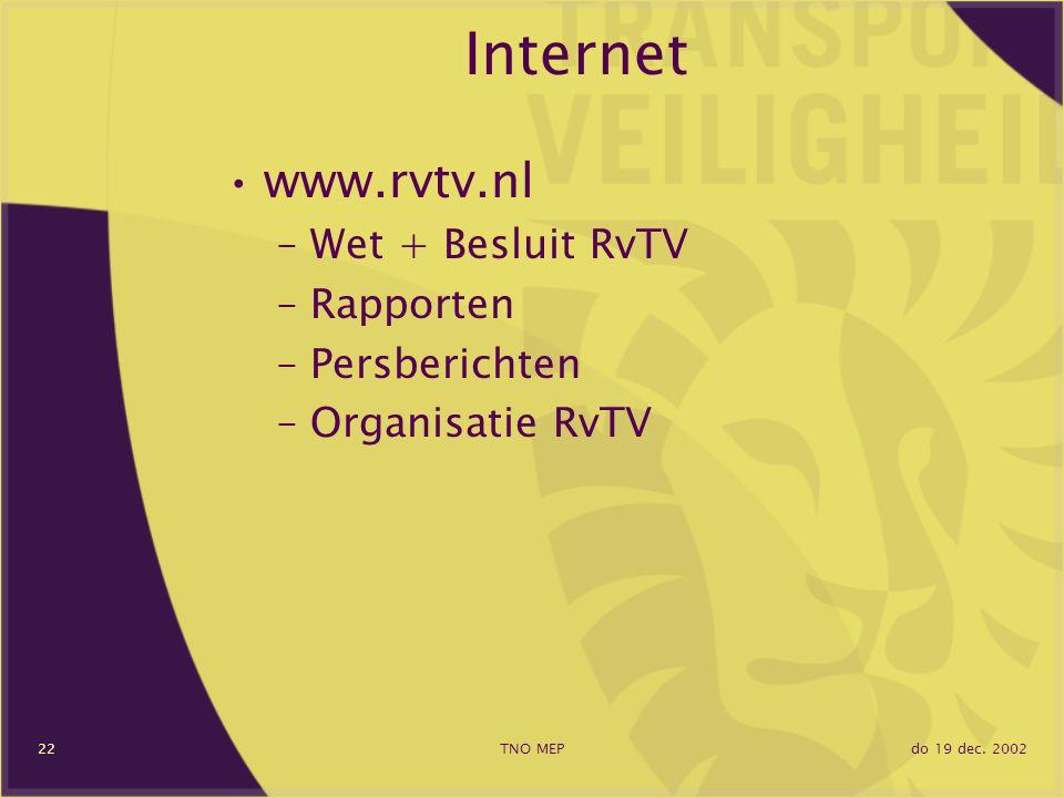 do 19 dec. 2002TNO MEP22 Internet www.rvtv.nl –Wet + Besluit RvTV –Rapporten –Persberichten –Organisatie RvTV