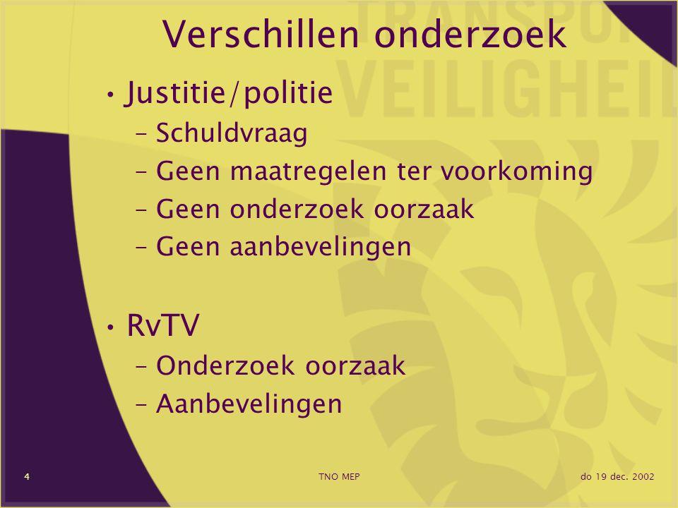 do 19 dec. 2002TNO MEP4 Verschillen onderzoek Justitie/politie –Schuldvraag –Geen maatregelen ter voorkoming –Geen onderzoek oorzaak –Geen aanbeveling