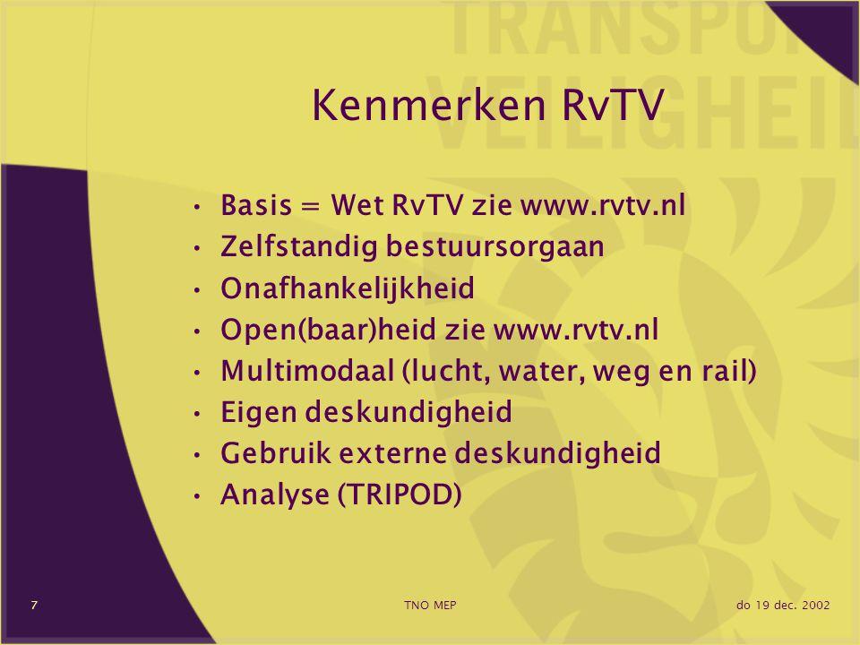 do 19 dec. 2002TNO MEP7 Kenmerken RvTV Basis = Wet RvTV zie www.rvtv.nl Zelfstandig bestuursorgaan Onafhankelijkheid Open(baar)heid zie www.rvtv.nl Mu
