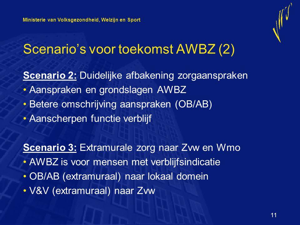 Ministerie van Volksgezondheid, Welzijn en Sport 11 Scenario's voor toekomst AWBZ (2) Scenario 2: Duidelijke afbakening zorgaanspraken Aanspraken en grondslagen AWBZ Betere omschrijving aanspraken (OB/AB) Aanscherpen functie verblijf Scenario 3: Extramurale zorg naar Zvw en Wmo AWBZ is voor mensen met verblijfsindicatie OB/AB (extramuraal) naar lokaal domein V&V (extramuraal) naar Zvw