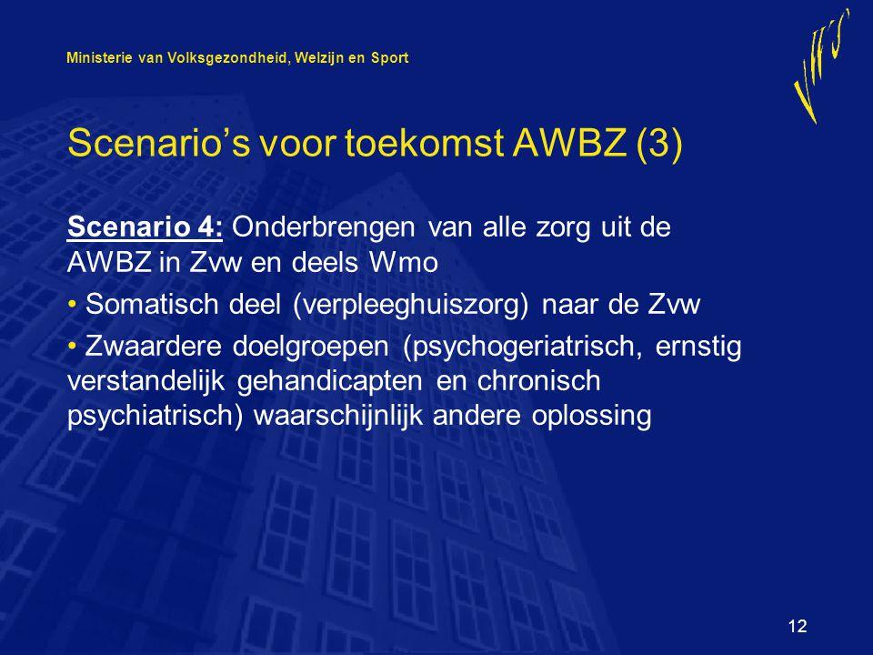 Ministerie van Volksgezondheid, Welzijn en Sport 12 Scenario's voor toekomst AWBZ (3) Scenario 4: Onderbrengen van alle zorg uit de AWBZ in Zvw en deels Wmo Somatisch deel (verpleeghuiszorg) naar de Zvw Zwaardere doelgroepen (psychogeriatrisch, ernstig verstandelijk gehandicapten en chronisch psychiatrisch) waarschijnlijk andere oplossing