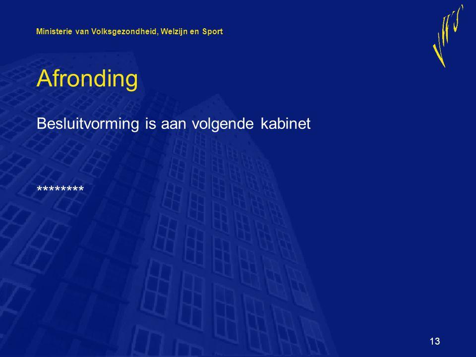 Ministerie van Volksgezondheid, Welzijn en Sport 13 Afronding Besluitvorming is aan volgende kabinet ********