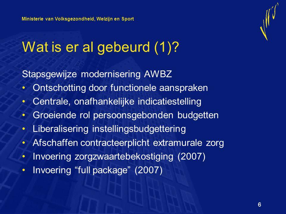 Ministerie van Volksgezondheid, Welzijn en Sport 6 Wat is er al gebeurd (1).