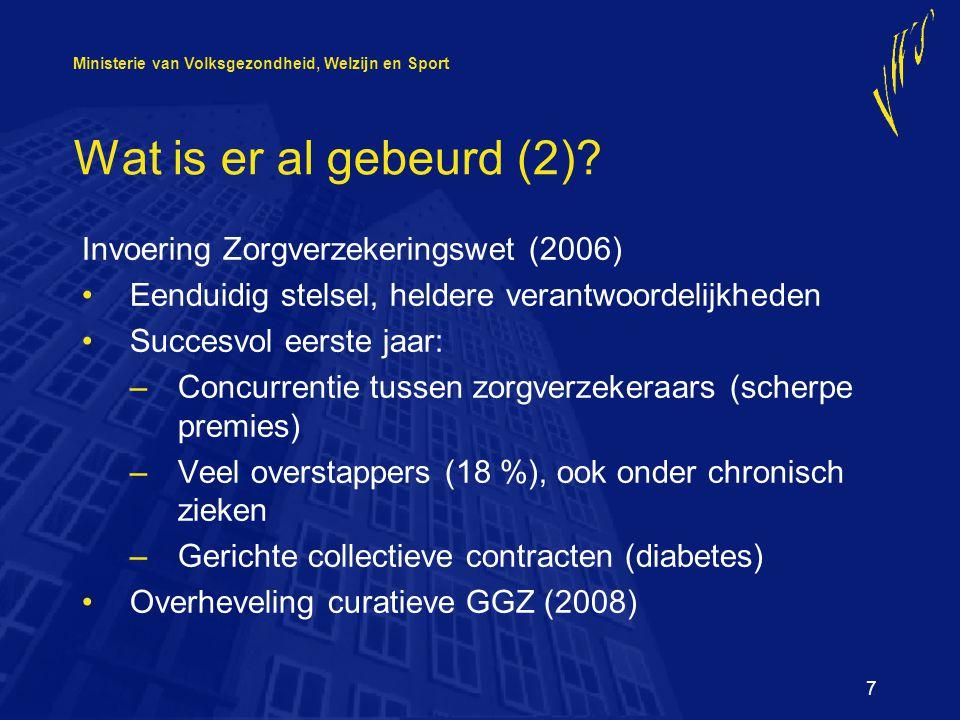 Ministerie van Volksgezondheid, Welzijn en Sport 7 Wat is er al gebeurd (2).