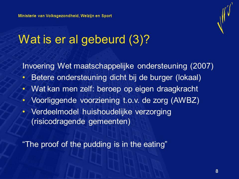 Ministerie van Volksgezondheid, Welzijn en Sport 8 Wat is er al gebeurd (3).