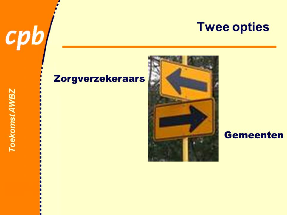 Toekomst AWBZ Twee opties Zorgverzekeraars Gemeenten