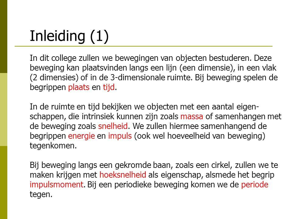 Inleiding (2) De genoemde met beweging samenhangende eigenschappen veranderen onder invloed van krachten.