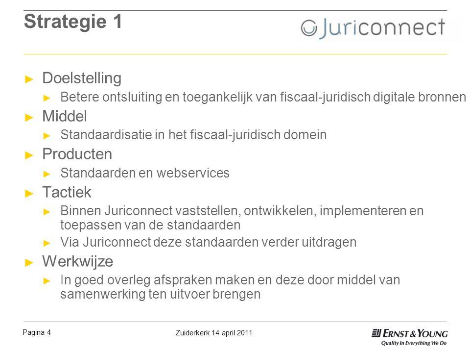 Pagina 4 Zuiderkerk 14 april 2011 Strategie 1 ► Doelstelling ► Betere ontsluiting en toegankelijk van fiscaal-juridisch digitale bronnen ► Middel ► St