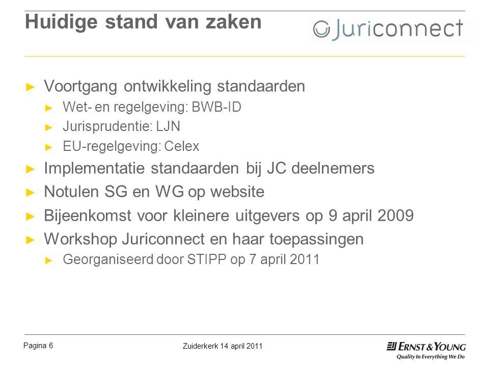 Huidige stand van zaken ► Voortgang ontwikkeling standaarden ► Wet- en regelgeving: BWB-ID ► Jurisprudentie: LJN ► EU-regelgeving: Celex ► Implementat