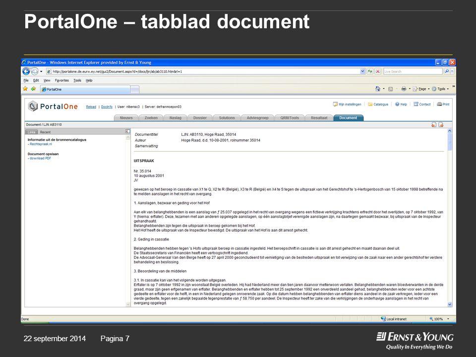 PortalOne – tabblad document 22 september 2014Pagina 7