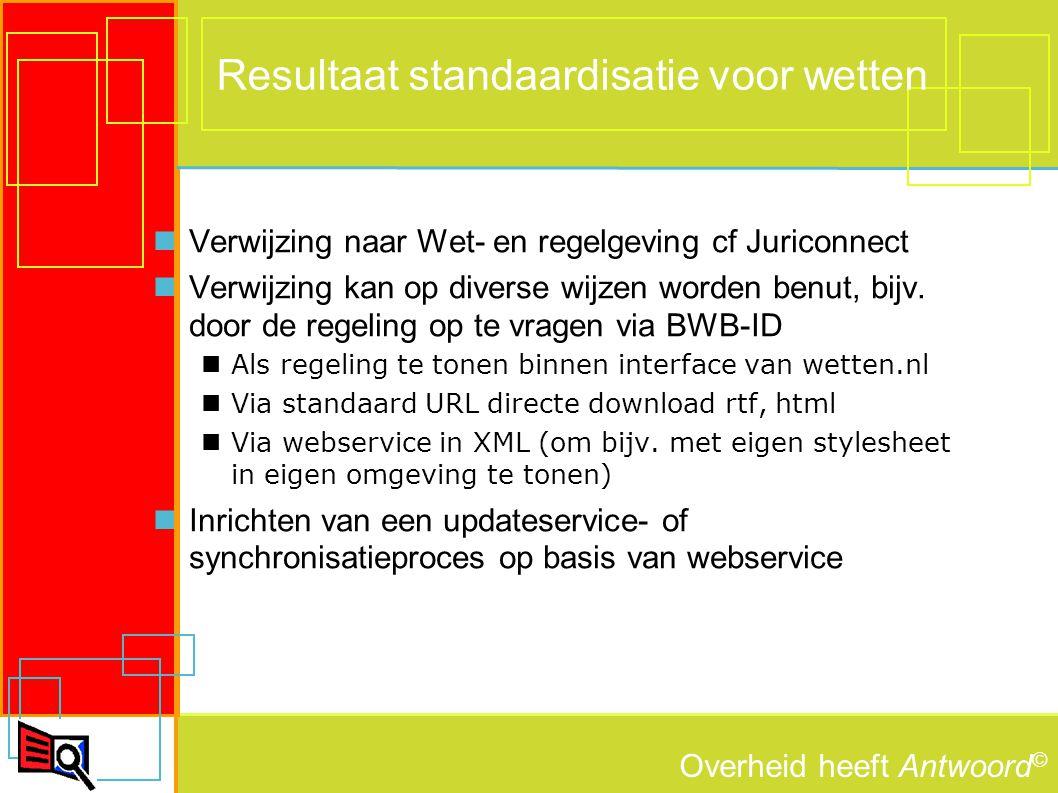 Overheid heeft Antwoord © Resultaat standaardisatie voor wetten Verwijzing naar Wet- en regelgeving cf Juriconnect Verwijzing kan op diverse wijzen worden benut, bijv.
