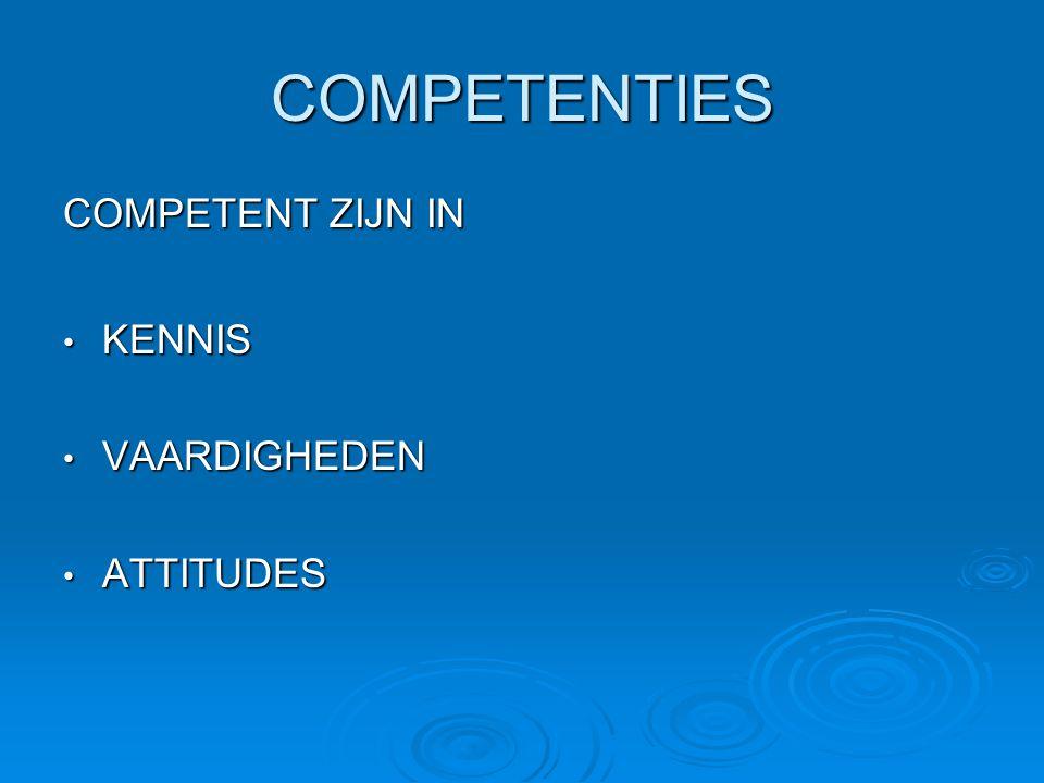 COMPETENTIES COMPETENT ZIJN IN KENNIS KENNIS VAARDIGHEDEN VAARDIGHEDEN ATTITUDES ATTITUDES