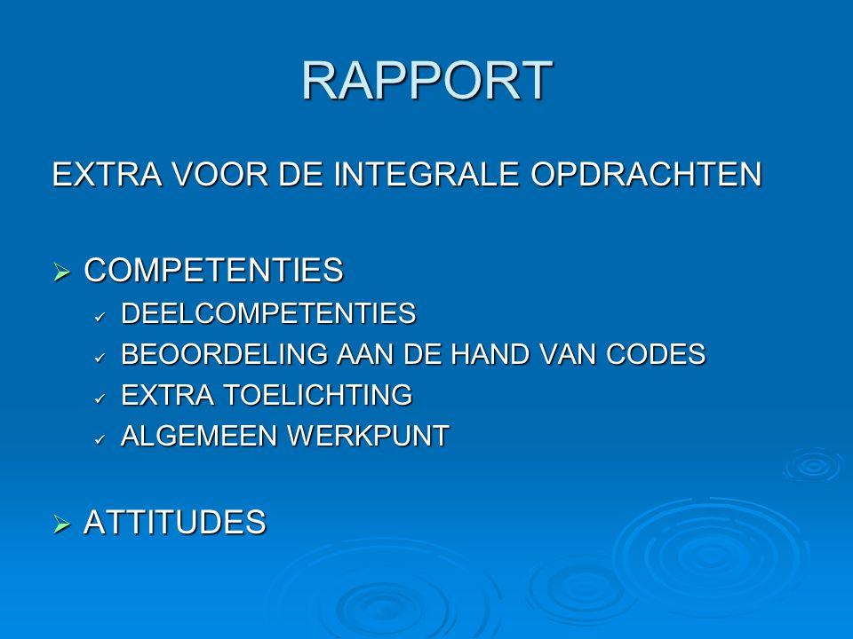 RAPPORT EXTRA VOOR DE INTEGRALE OPDRACHTEN  COMPETENTIES DEELCOMPETENTIES DEELCOMPETENTIES BEOORDELING AAN DE HAND VAN CODES BEOORDELING AAN DE HAND