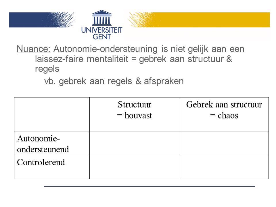 Nuance: Autonomie-ondersteuning is niet gelijk aan een laissez-faire mentaliteit = gebrek aan structuur & regels vb.