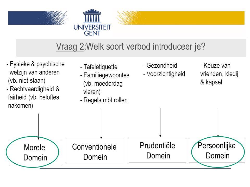 Morele Domein Conventionele Domein Persoonlijke Domein - Fysieke & psychische welzijn van anderen (vb.