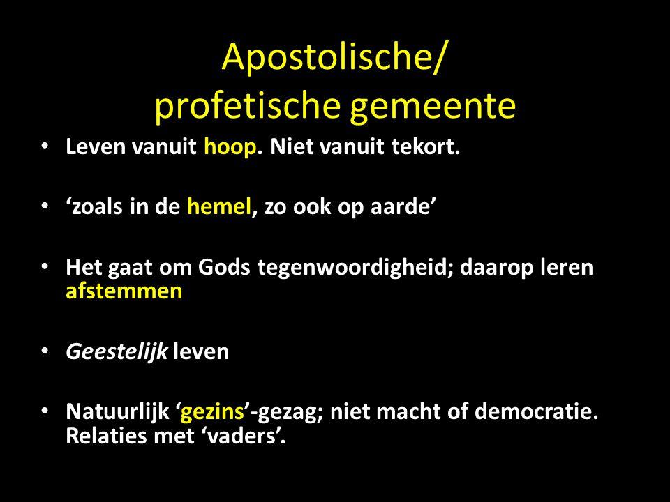 Apostolische/ profetische gemeente Leven vanuit hoop.