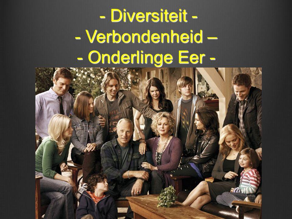 - Diversiteit - - Verbondenheid – - Onderlinge Eer - - Diversiteit - - Verbondenheid – - Onderlinge Eer -