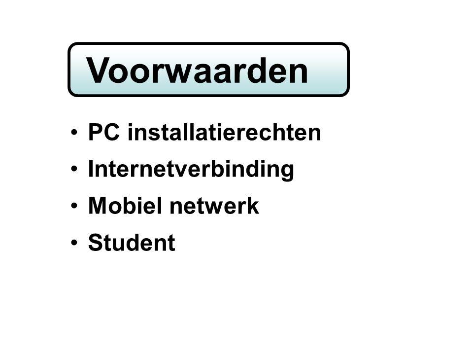 home PC installatierechten Internetverbinding Mobiel netwerk Student Voorwaarden