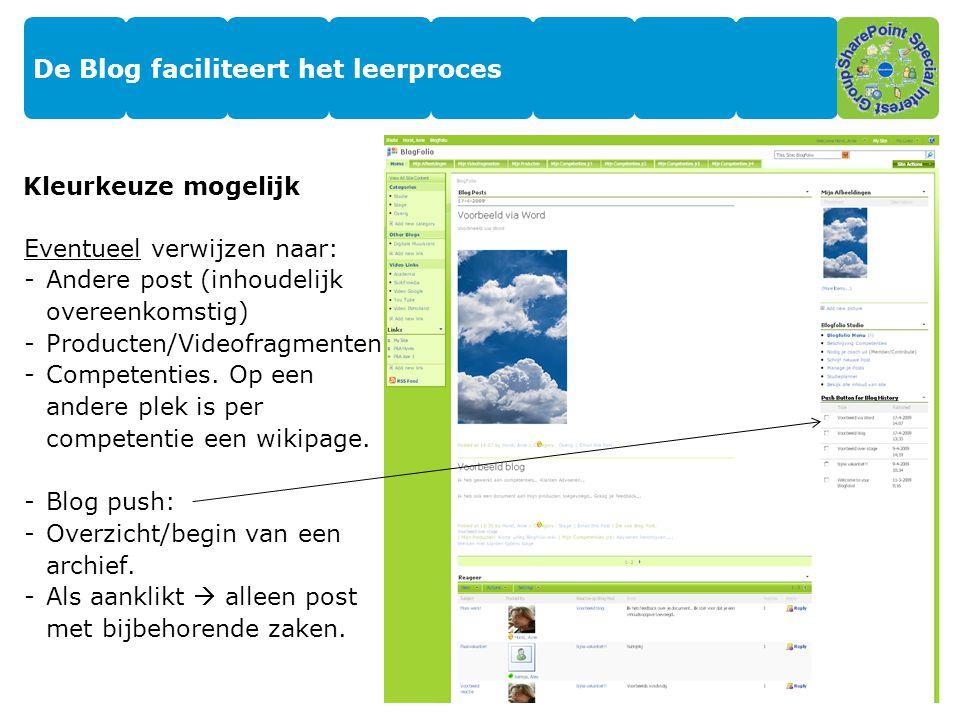 De Blog faciliteert het leerproces Kleurkeuze mogelijk Eventueel verwijzen naar: -Andere post (inhoudelijk overeenkomstig) -Producten/Videofragmenten