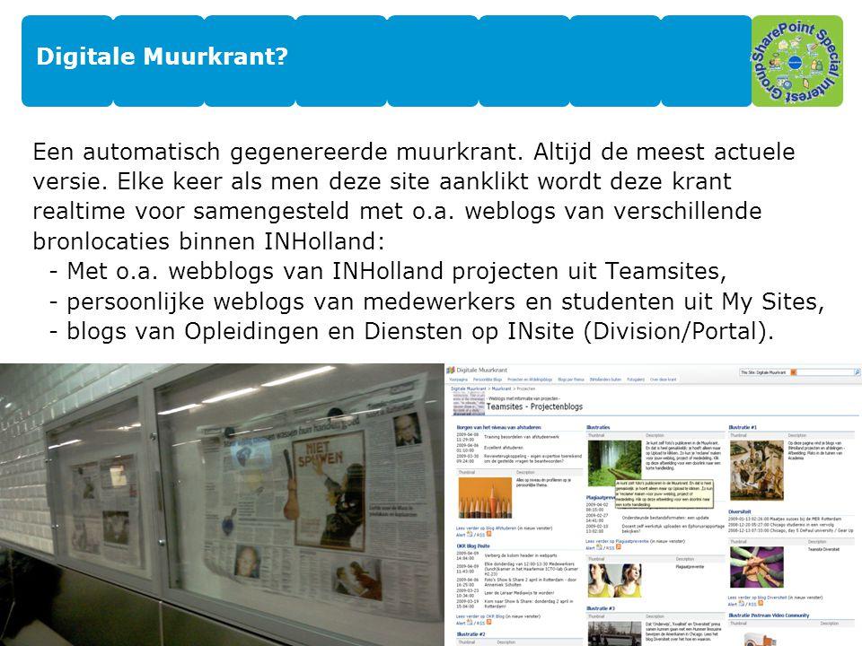 10 Enkele functies van de Digitale Muurkrant -Muurkrant Telex – een hotlist met 10 laatste postings.